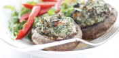 Gestational Diabetes Friendly Stuffed Portobello Mushrooms