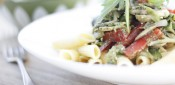 Gestational diabetes friendly Creamy Pesto Penne with Mushrooms