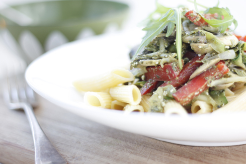 Gestational diabetes friendly Creamy Pesto Penne with Mushrooms