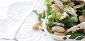 Gestational diabetes friendly Poached Chicken with Green Bean Salad & Mustard Dressing